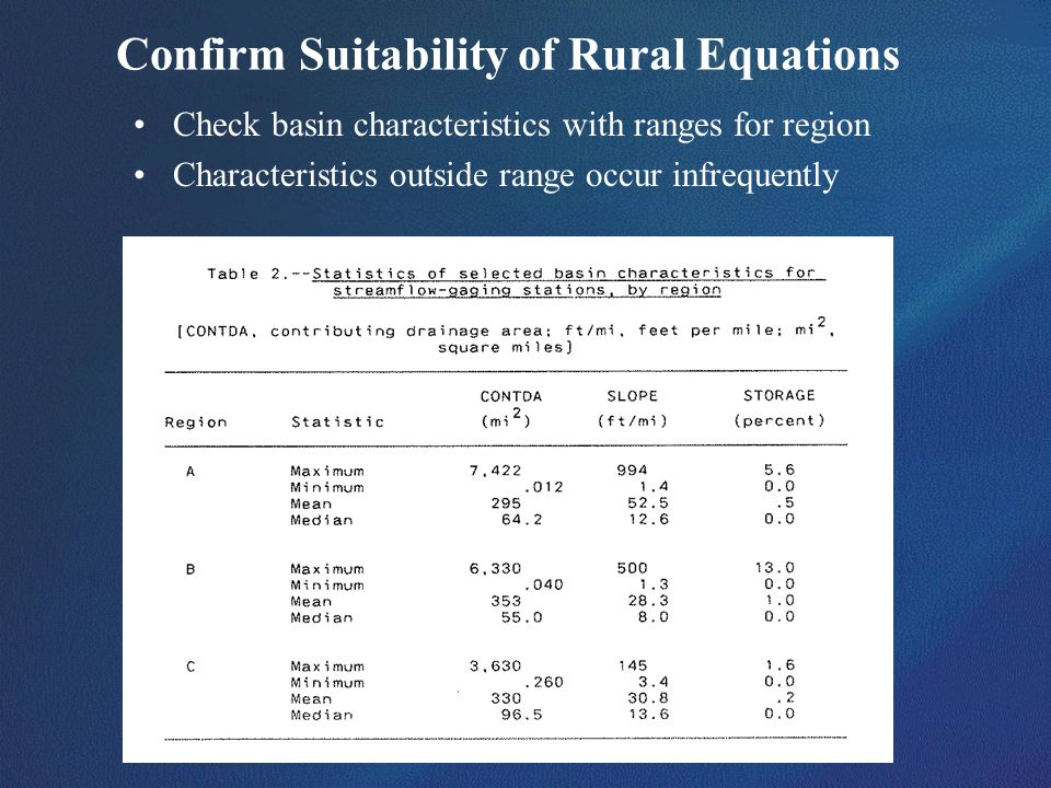 Confirm Suitability of Rural Equations