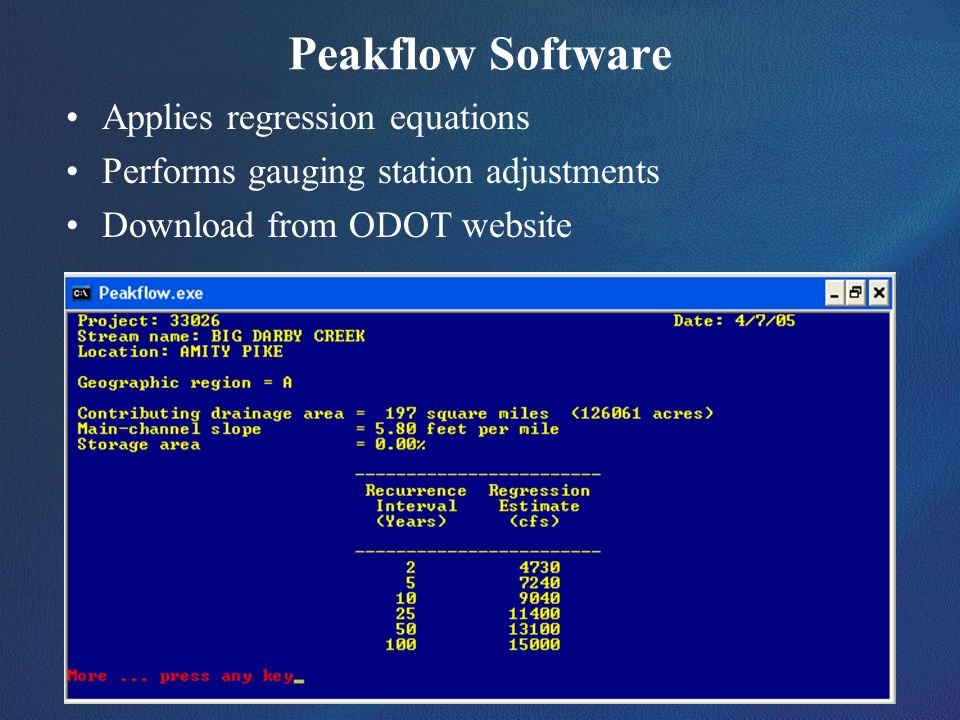Peakflow Software Applies regression equations
