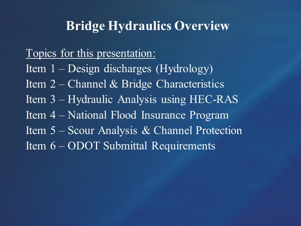 Bridge Hydraulics Overview