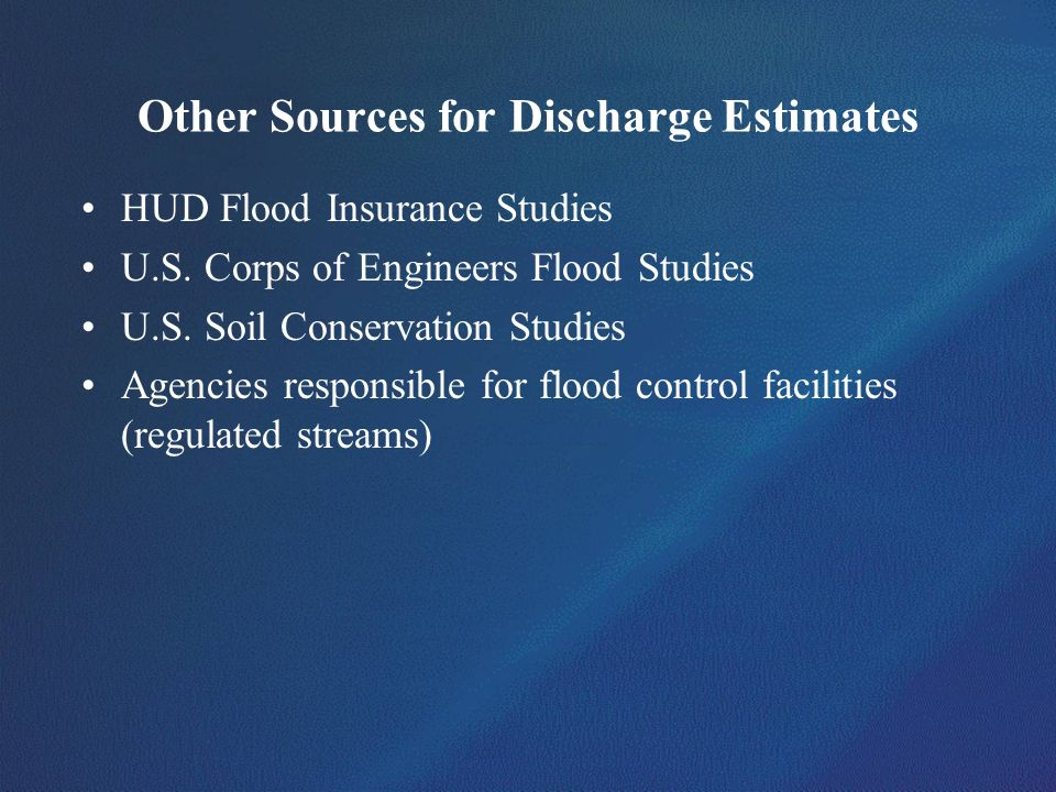 Other Sources for Discharge Estimates