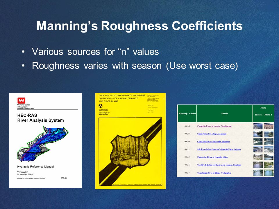 Manning's Roughness Coefficients