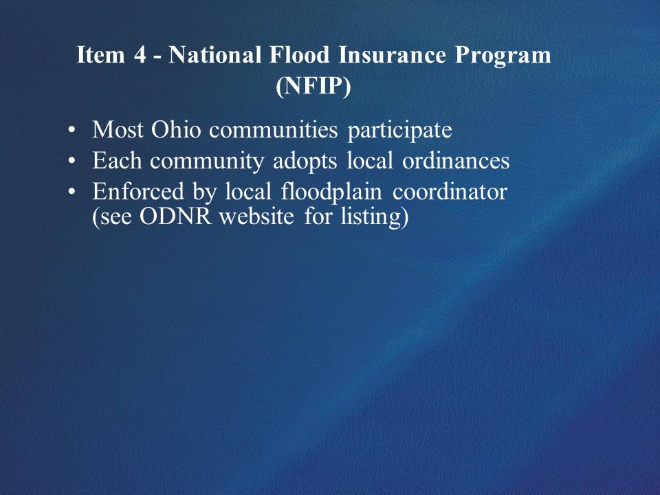 Item 4 - National Flood Insurance Program (NFIP)