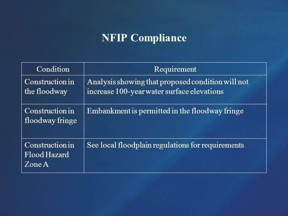 NFIP Compliance Condition Requirement Construction in the floodway