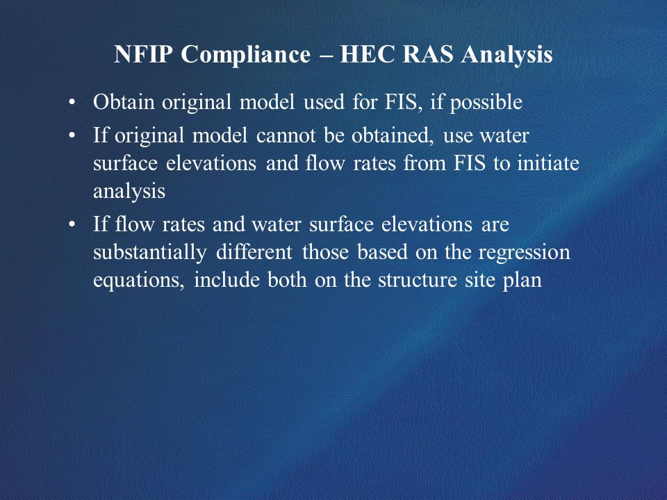 NFIP Compliance – HEC RAS Analysis