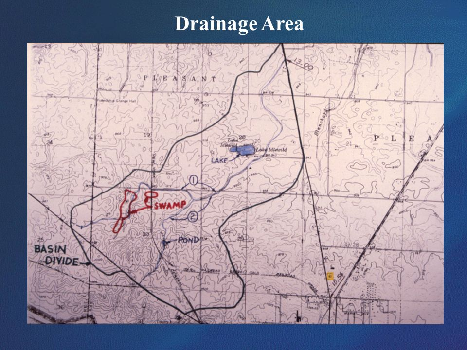 Drainage AreaThis graphic shows one method that can be used to calculate drainage areas for use in the regression equations.