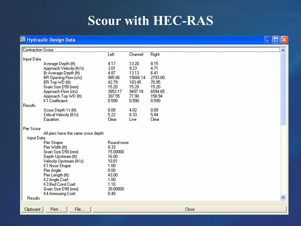 Scour with HEC-RAS