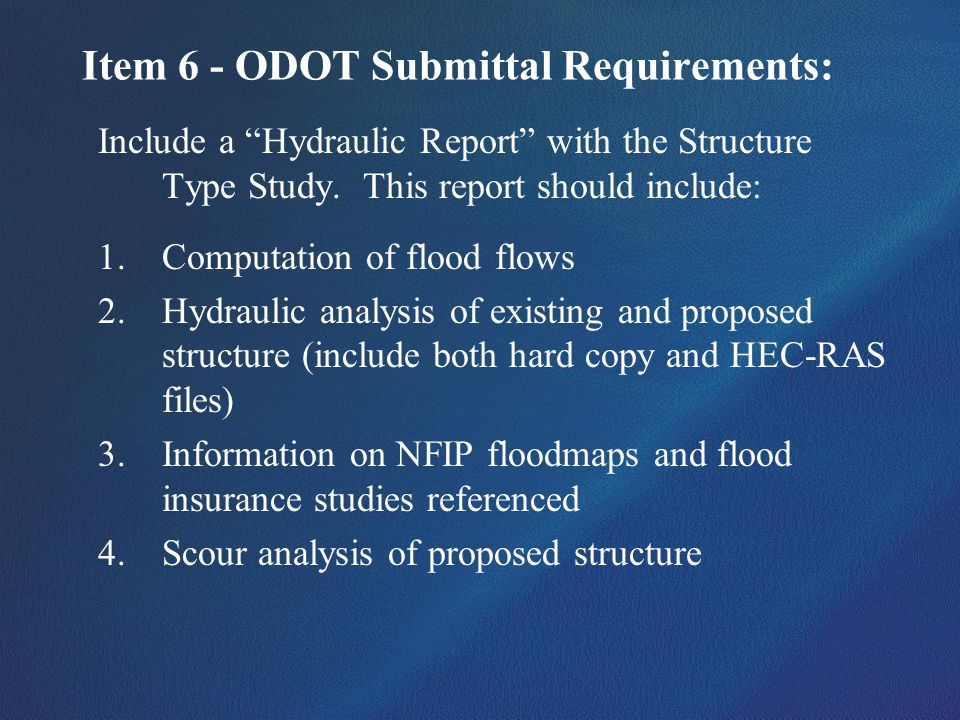 Item 6 - ODOT Submittal Requirements: