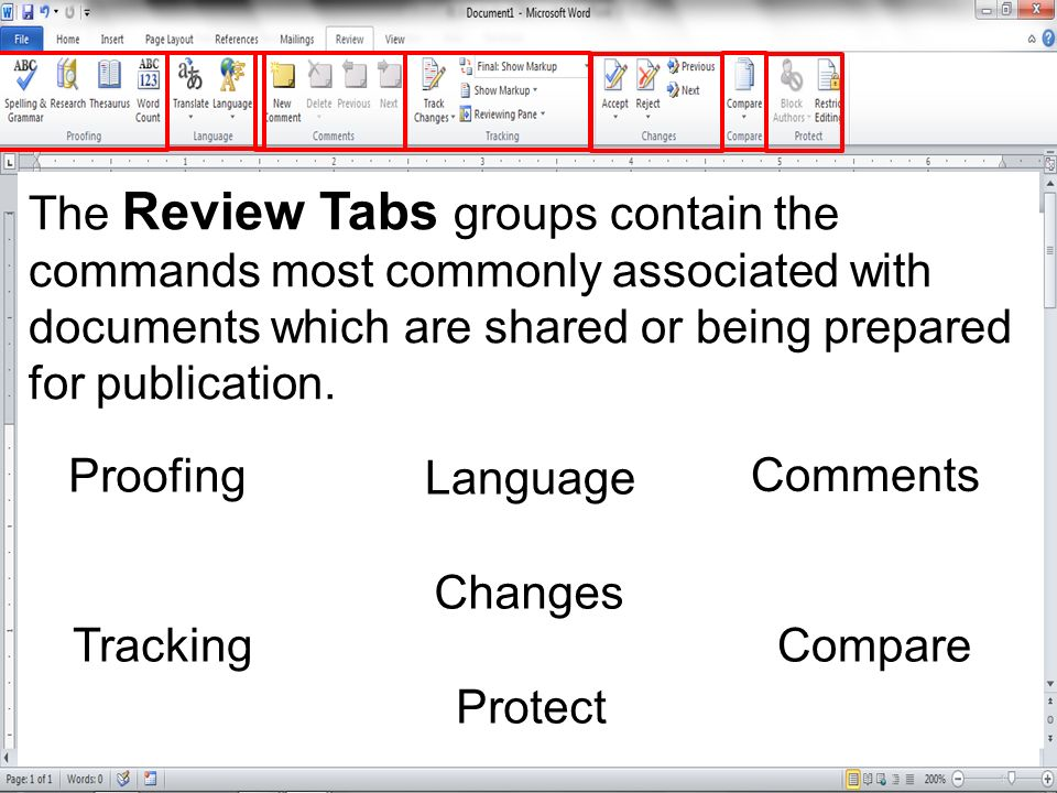 The Review Tabs groups contain the commands most commonly associated with documents which are shared or being prepared for publication.