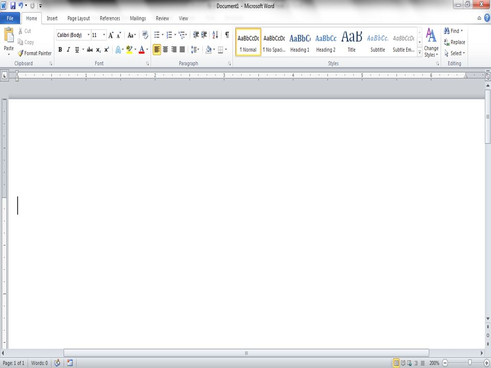 The opening screen for Microsoft Word 2010 looks like this…