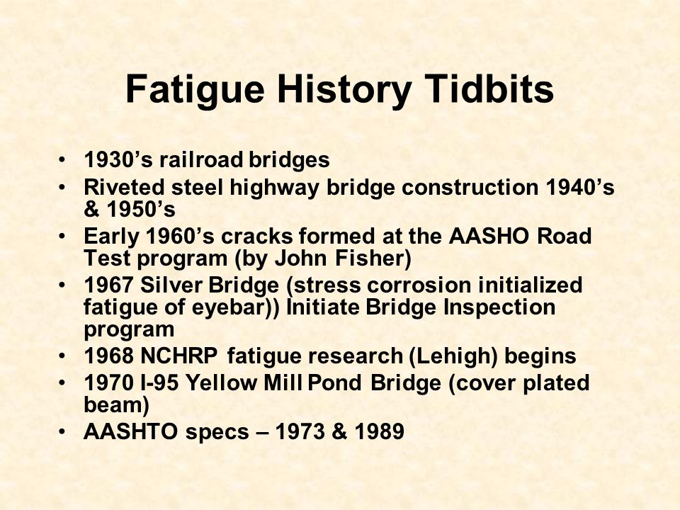 Fatigue History Tidbits