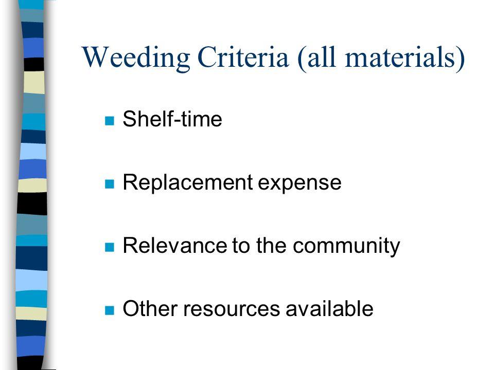 Weeding Criteria (all materials)