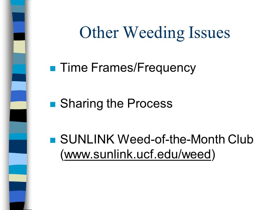 Other Weeding Issues Time Frames/Frequency Sharing the Process