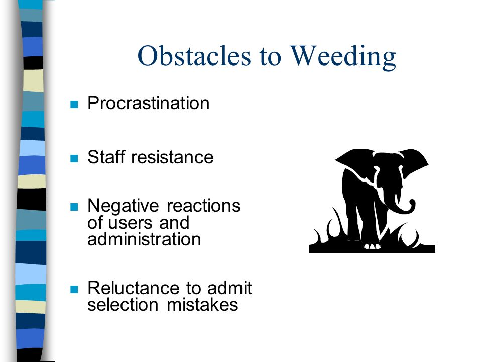 Obstacles to Weeding Procrastination Staff resistance