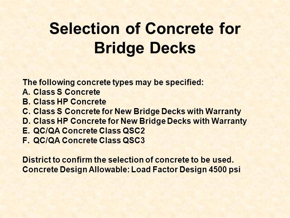 Selection of Concrete for Bridge Decks