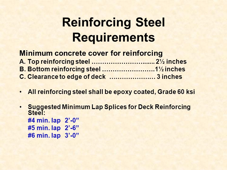 Reinforcing Steel Requirements