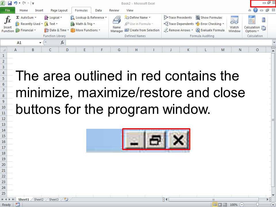 The area outlined in red contains the minimize, maximize/restore and close buttons for the program window.