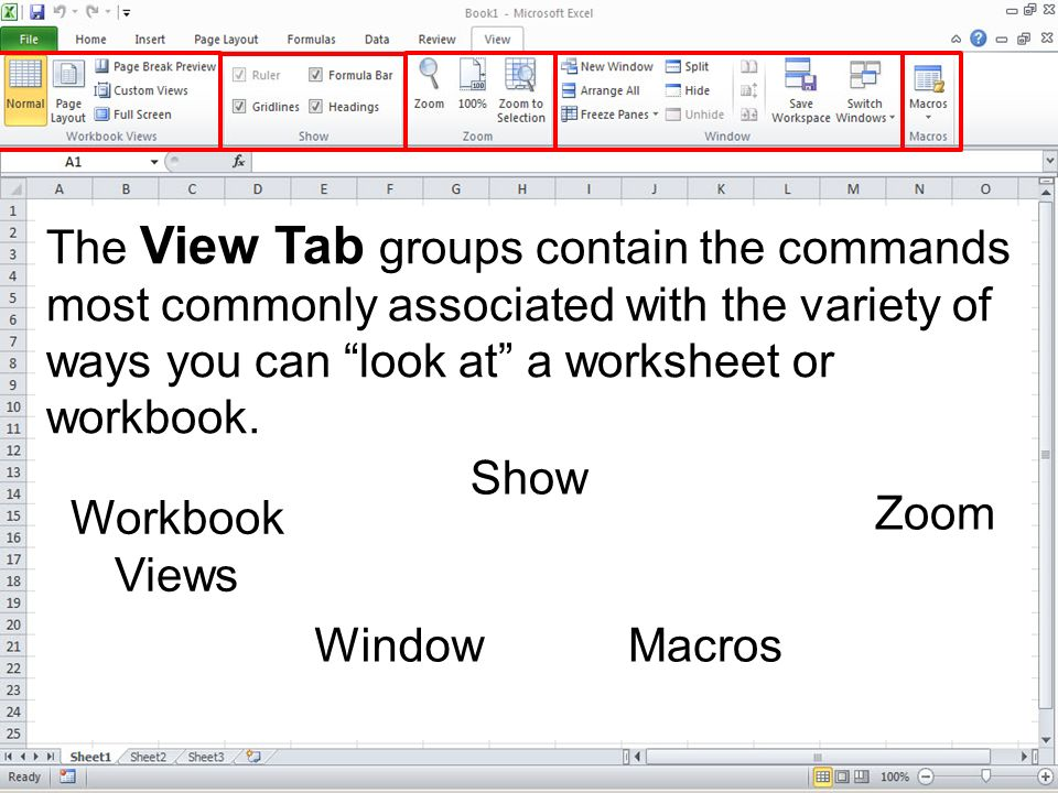 The View Tab groups contain the commands most commonly associated with the variety of ways you can look at a worksheet or workbook.