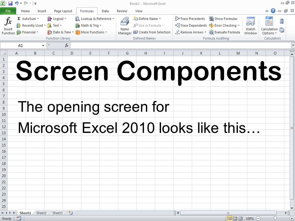 The opening screen for Microsoft Excel 2010 looks like this…