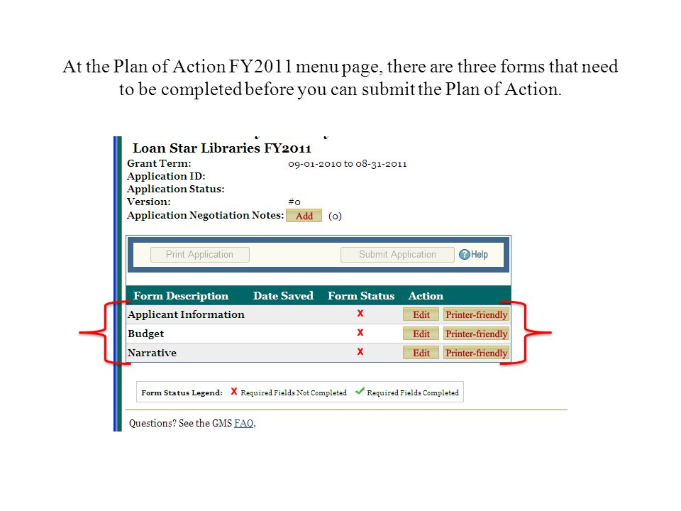At the Plan of Action FY2011 menu page, there are three forms that need to be completed before you can submit the Plan of Action.