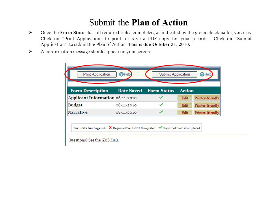 Submit the Plan of Action