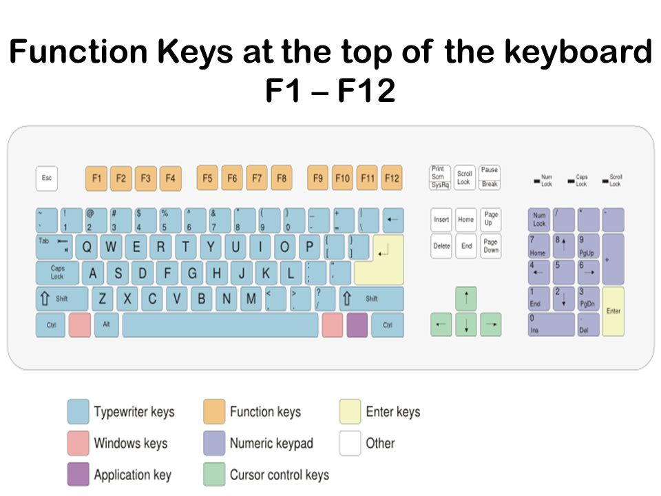 Function Keys at the top of the keyboard F1 – F12