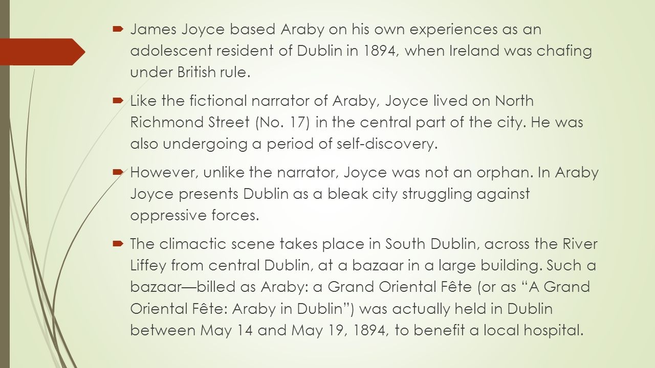 character analysis essay on araby Character analysis of james joyce' eveline joyce' eveline we will write a cheap essay sample on analysis of the james joyce's 'araby' and.