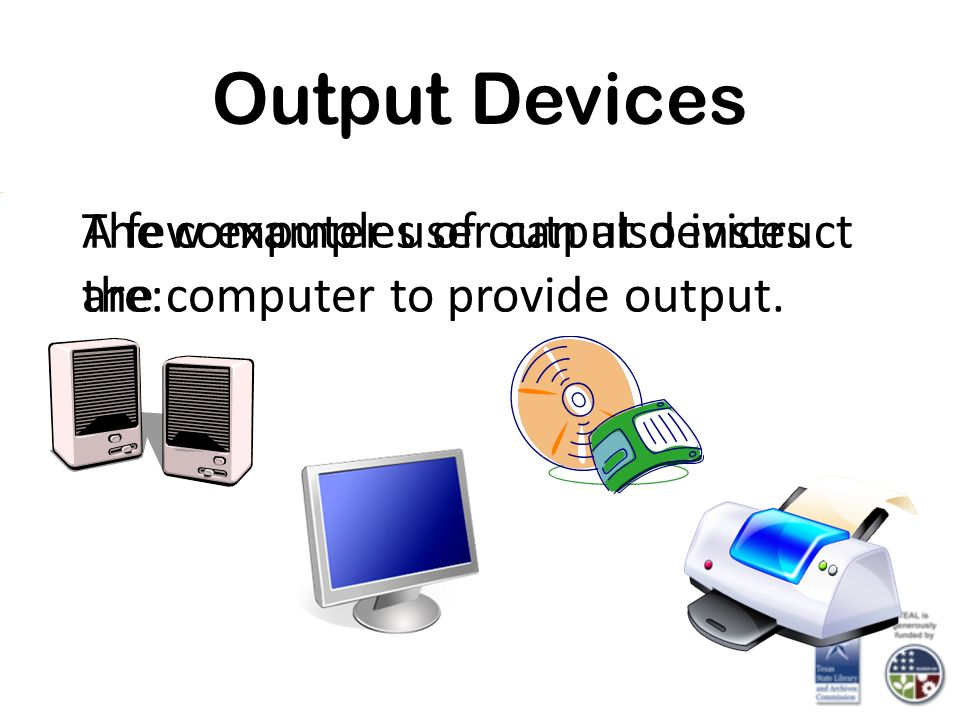 Output Devices A few examples of output devices are: