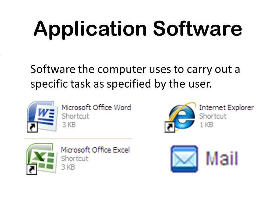 Application Software Software the computer uses to carry out a specific task as specified by the user.