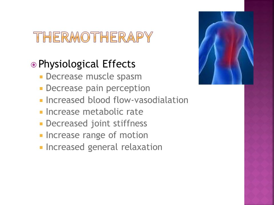 Thermotherapy Physiological Effects Decrease muscle spasm