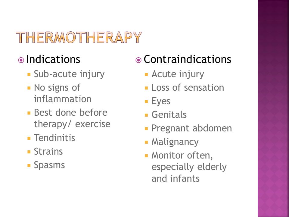 Thermotherapy Indications Contraindications Sub-acute injury