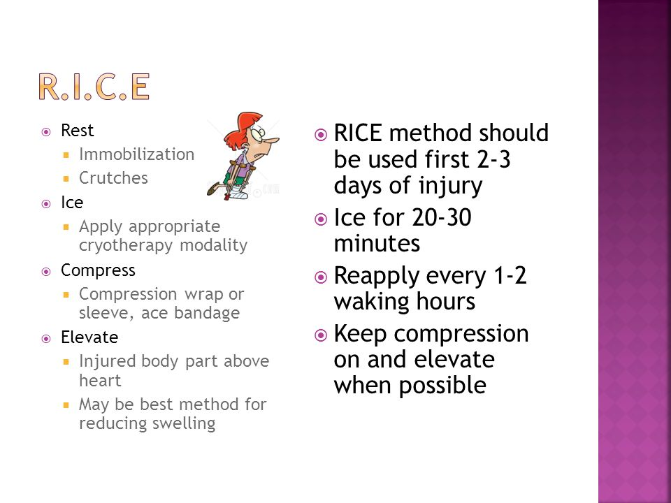 R.I.C.E RICE method should be used first 2-3 days of injury