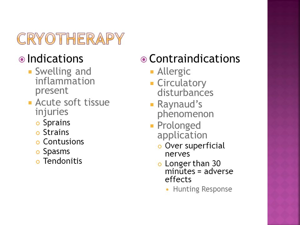 Cryotherapy Indications Contraindications