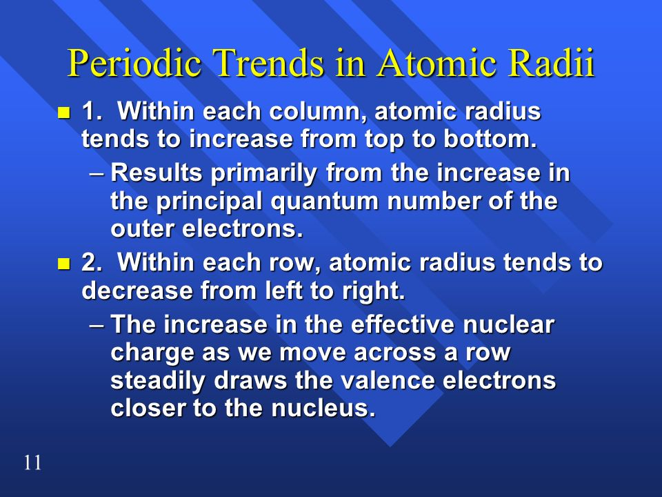 Periodic Trends in Atomic Radii
