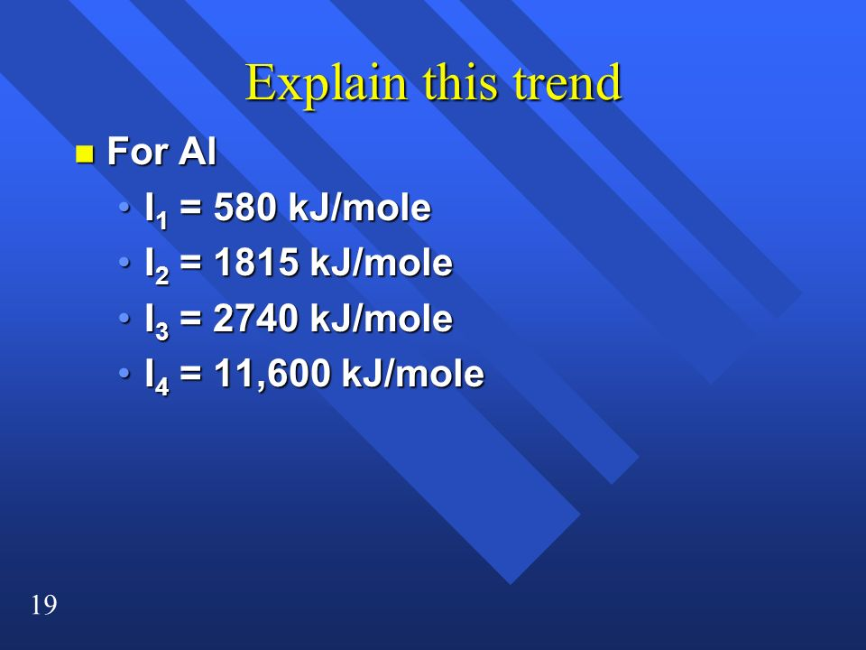 Explain this trend For Al I1 = 580 kJ/mole I2 = 1815 kJ/mole
