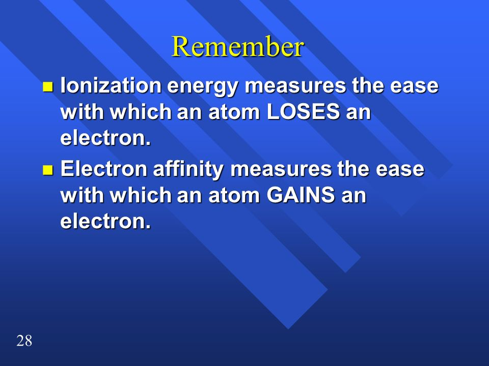 Remember Ionization energy measures the ease with which an atom LOSES an electron.