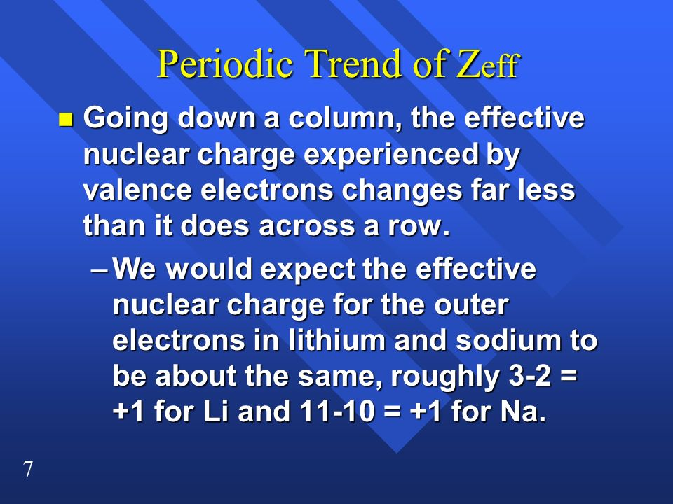 Periodic Trend of Zeff Going down a column, the effective nuclear charge experienced by valence electrons changes far less than it does across a row.