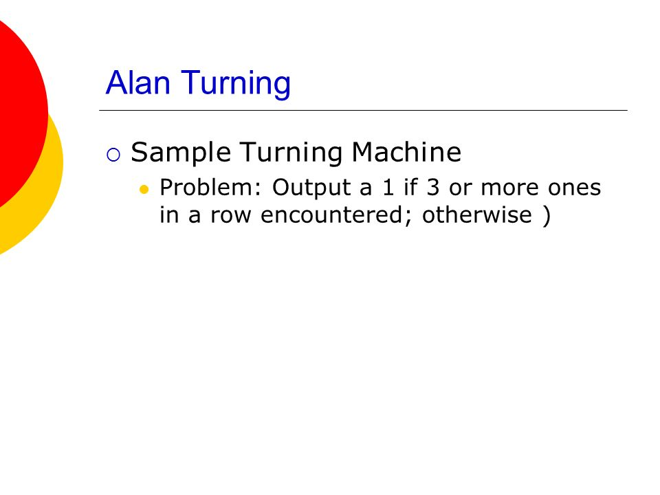 Alan Turning Sample Turning Machine