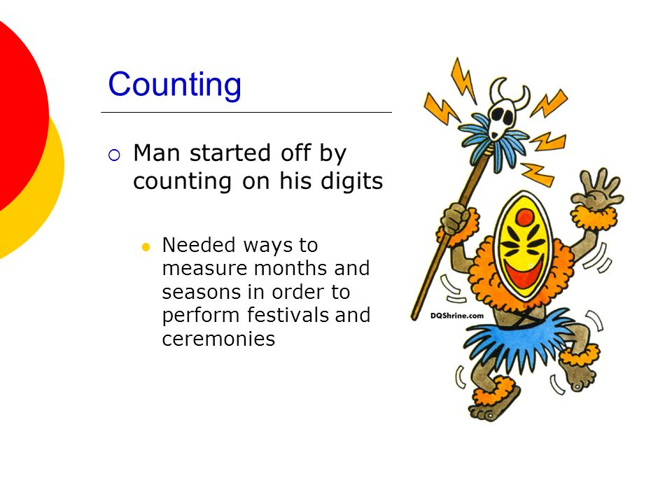 Counting Man started off by counting on his digits