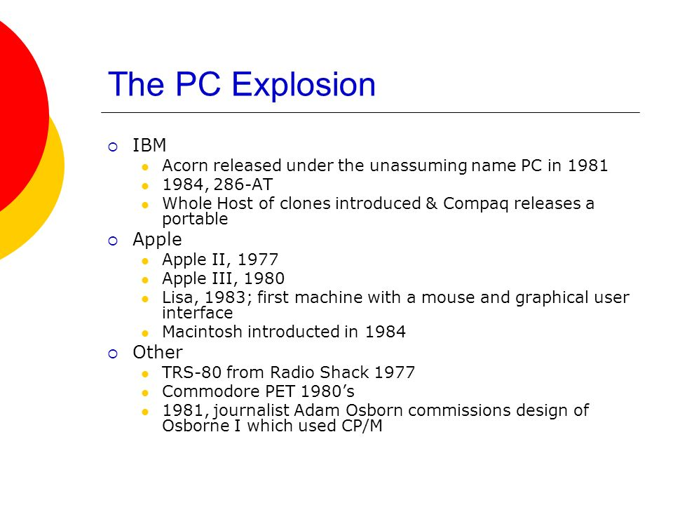 The PC Explosion IBM Apple Other