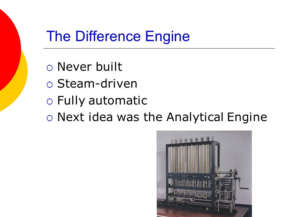 The Difference Engine Never built Steam-driven Fully automatic