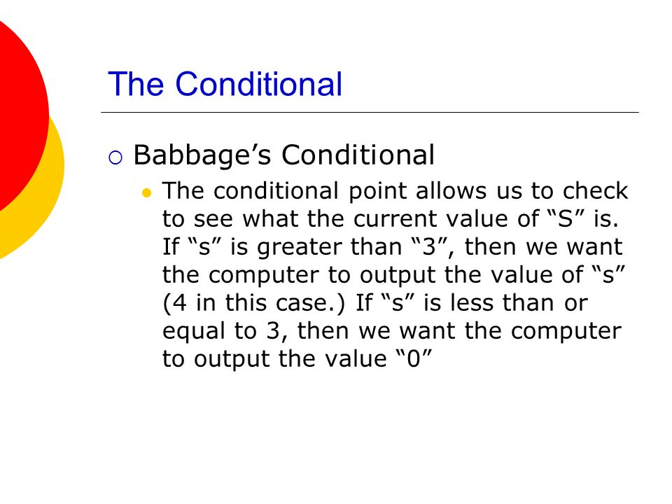 The Conditional Babbage's Conditional