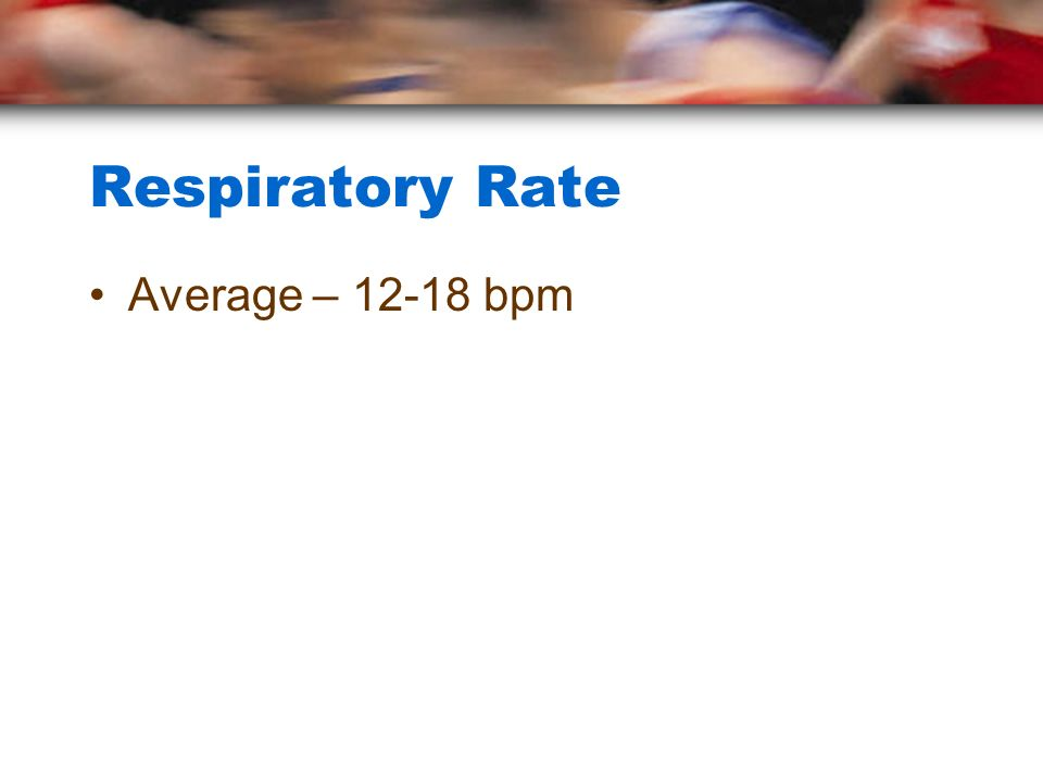 Respiratory Rate Average – 12-18 bpm