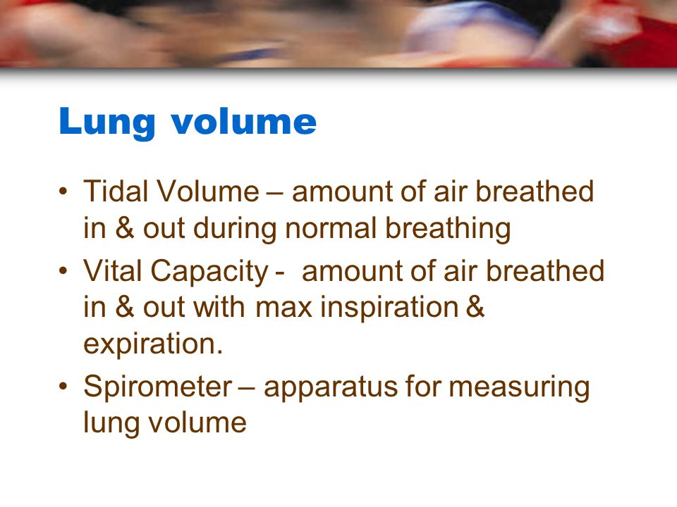Lung volume Tidal Volume – amount of air breathed in & out during normal breathing.