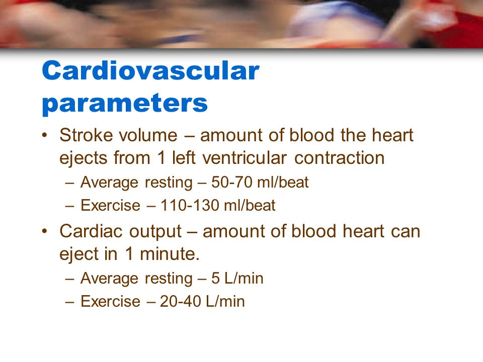 Cardiovascular parameters