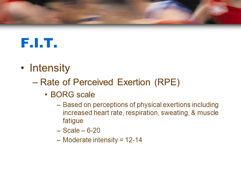 F.I.T. Intensity Rate of Perceived Exertion (RPE) BORG scale