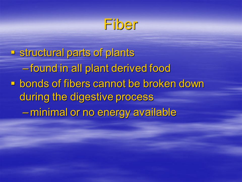 Fiber structural parts of plants found in all plant derived food