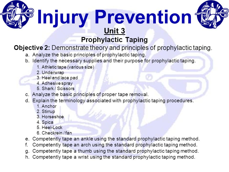 Injury Prevention Unit 3 Prophylactic Taping