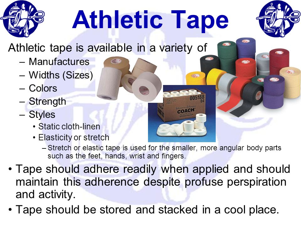 Athletic Tape Athletic tape is available in a variety of