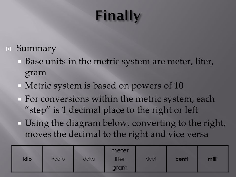Finally Summary Base units in the metric system are meter, liter, gram