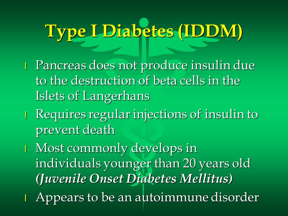Type I Diabetes (IDDM) Pancreas does not produce insulin due to the destruction of beta cells in the Islets of Langerhans.